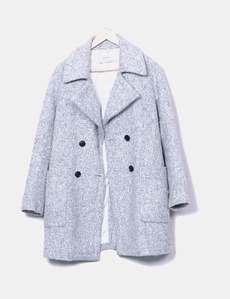 Abrigo de paño gris jaspeado Zara b2d18a7a60e