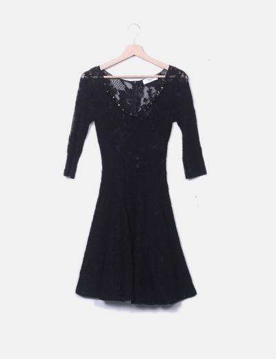Vestido negro encaje
