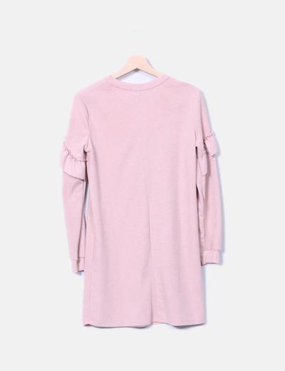 Vestido midi rosa manga larga