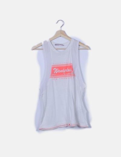 Camiseta blanca print flúor