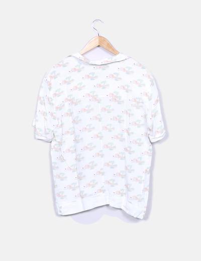 Camisa blanca manga corta estampada