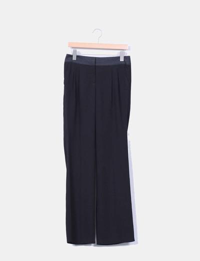 Pantalón negro combinado corte recto Naf Naf