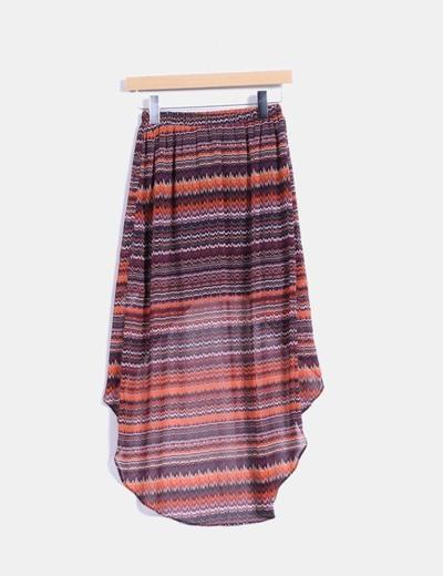 Falda estampada corte asimetrico