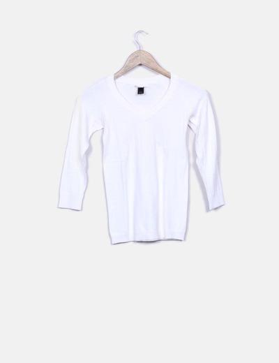 Tricot blanco cuello pico Mango