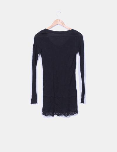 Vestido negro lencero de manga larga