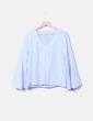 Chemise bleue rayée à manches capuche Zara