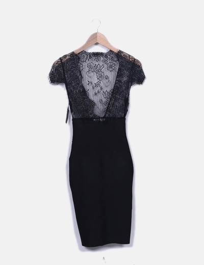 Vestido negro lencero House of London