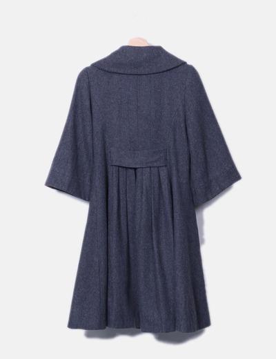 Abrigo largo gris con manga francesa