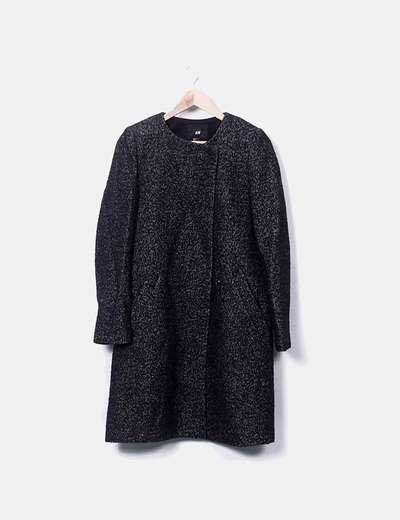 Abrigo negro jaspeado con bolsillos