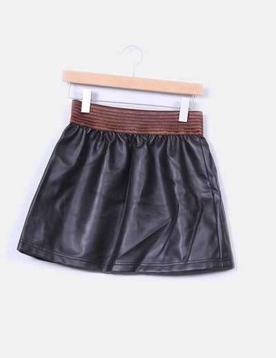 NoName Falda marrón polipiel con goma en cintura (descuento 60 ... 7ff25c046b7d