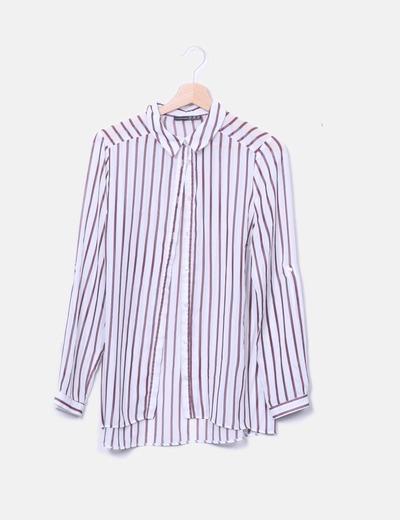 T-shirt blanc rayé marron Primark