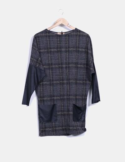 Vestido gris jaspeado de cuadros IRIS
