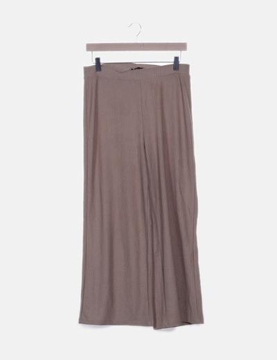 Pantalón fluido beige texturizado