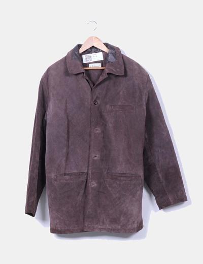Abrigo marrón de piel In Extenso