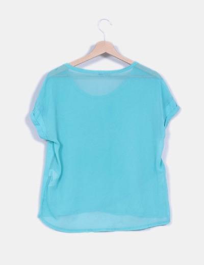 Camiseta oversize turquesa doble textura