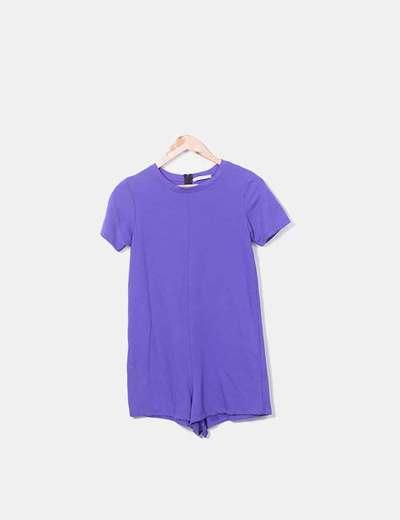 Combinaison violette courte à manches Zara