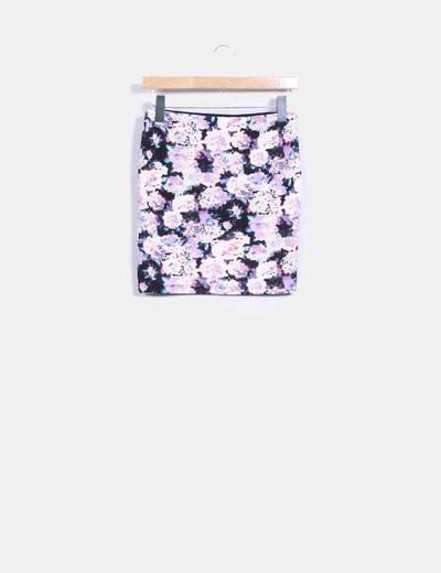 Mini falda ajustada print floral