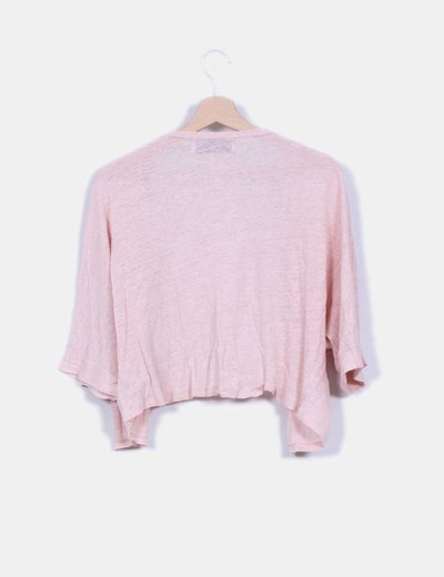 Cardigan corto rosa palo