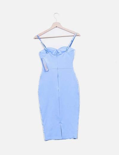 Vestido entallado azul estampado encaje