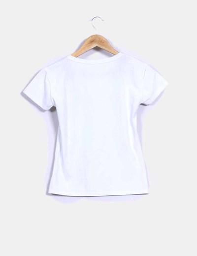Camiseta blanca manga corta print