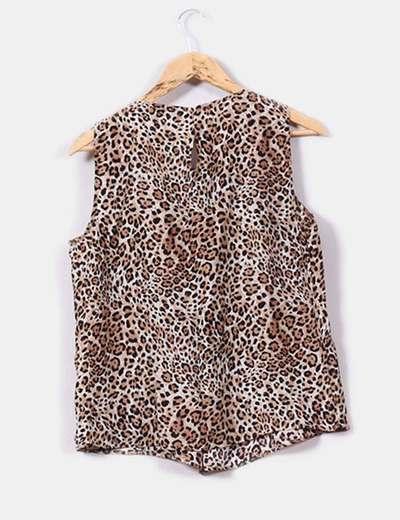Blusa de seda print leopardo
