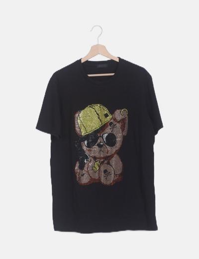Camiseta negra oso strass manga corta