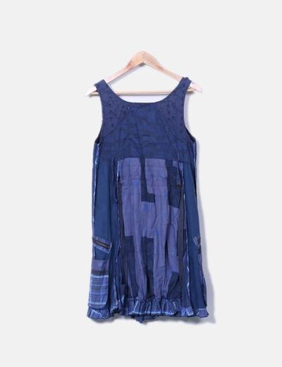 Vestido de tirantes azul marino combinado