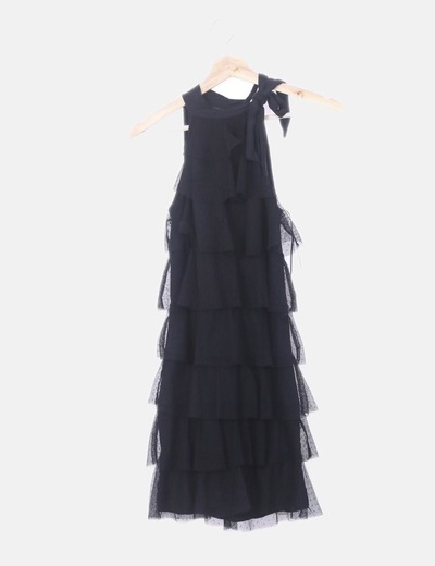 Vestido volantes tul negro