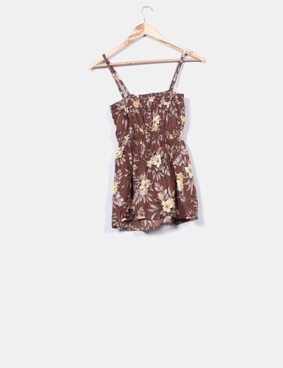 Top marron estampado floral