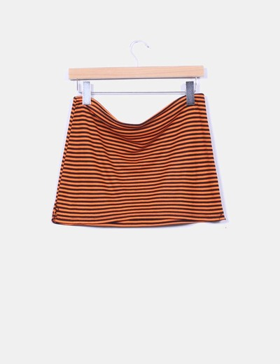Mini falda naranja rayas negras