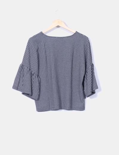 tienda oficial mejor selección de como comprar Conjunto blusa de cuadros vichy en negro con manga acampanada y pantalón  palazzo