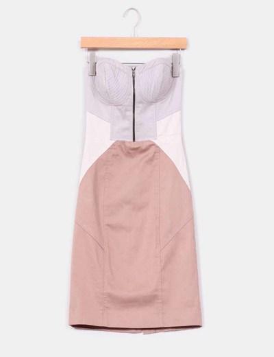 Vestido tricolor escote corazón H&M