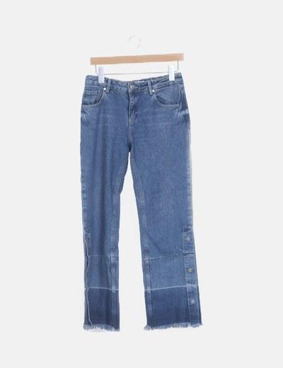 Jeans denim recto corchetes