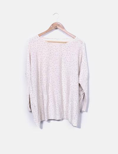 Jersey tricot beige detalle tachas Belcci