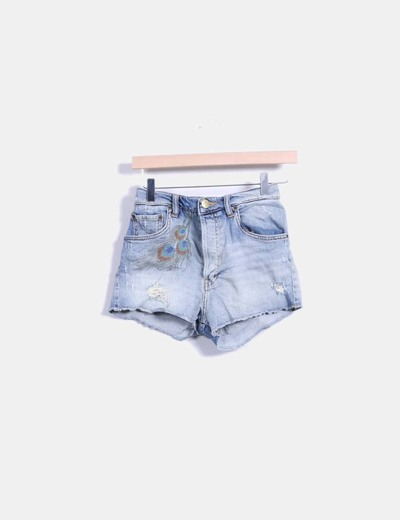 Shorts denim bordado Zara