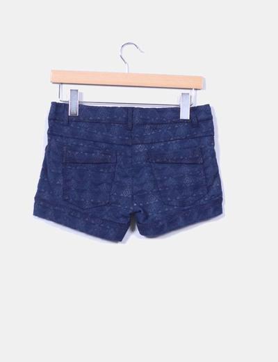 Short azul texturizado