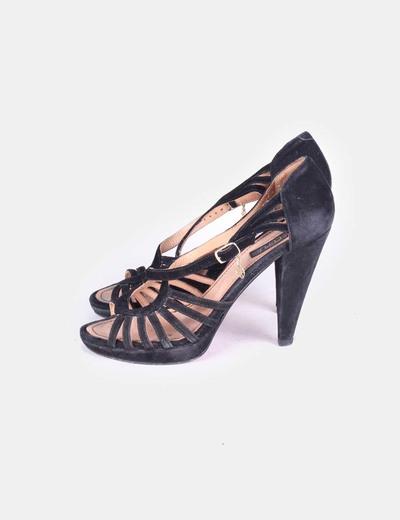 Sandalias negras con hebilla de ante Cuplé