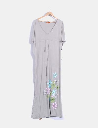 Maxi vestido beige floral Titis Clothing