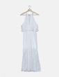 Maxi vestido de encaje blanco con volante Florencia