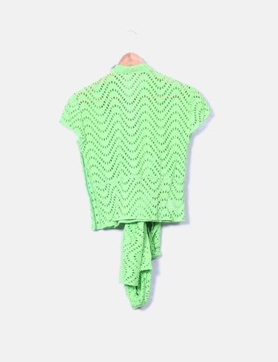 Camisa troquelada detalle lazo