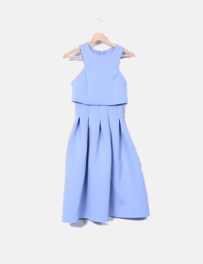 Vestido vintage neopreno azul Asos