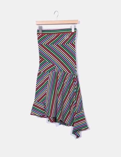 Falda midi rayas multicolores Pepe Jeans