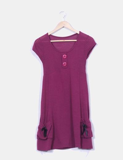 Vestido tricot berenjena escote canalé NoName