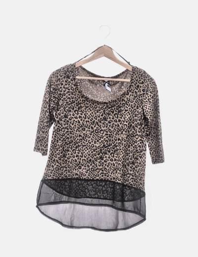 Camiseta combinada animal print