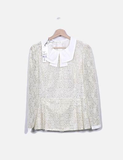 Blusa de glitter bege Suiteblanco