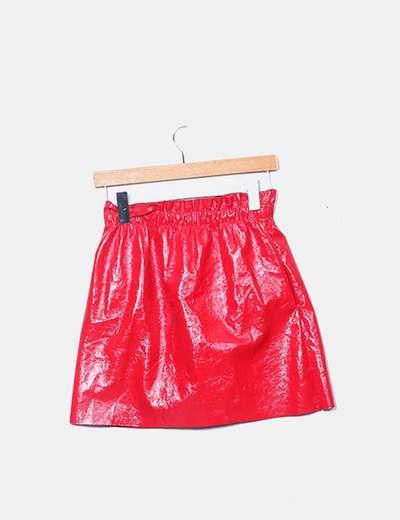 bd83bb4d2 Mini falda charol rojo