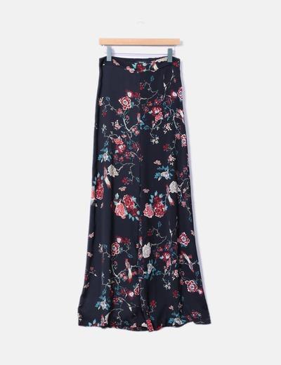 Pantalón recto negro estampado floral Fórmula Joven