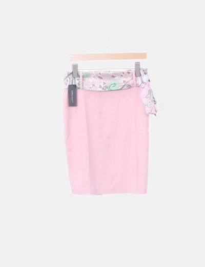 Falda rosa palo cinturón satén floral