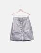 Falda metalizada con botones Zara
