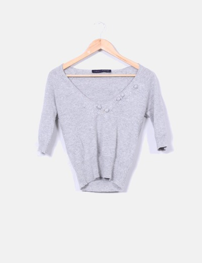 Suéter gris jaspeado detalles florales  French Connection